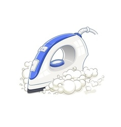 Iron with steam home device vector