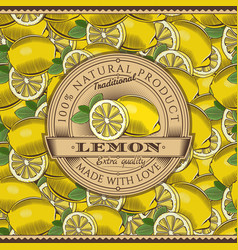 Vintage lemon label on seamless pattern vector