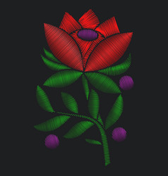 Red flower roses embroidery vector