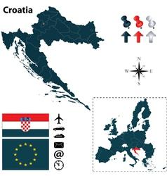 Croatia and European Union map vector image