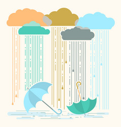 Rain with stylish flat clouds and vector