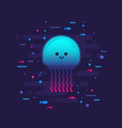 Cute cartoon jellyfish character vector