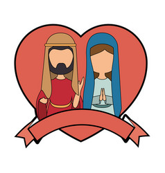 Saint joseph and virgin mary vector