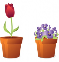 Spring flowers in pot vector