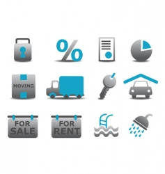 Real estate and moving icons vector