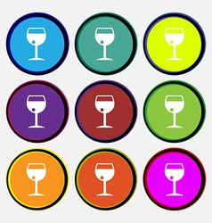 Glass of wine icon sign nine multi colored round vector