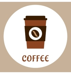 Flat takeaway coffee cup icon vector