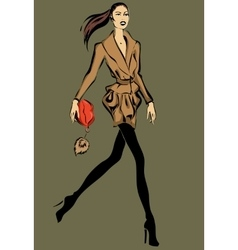Fashion model in sketch style fall winter vector