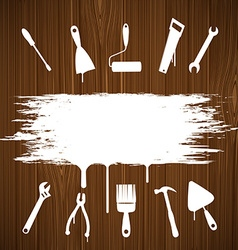 Industrial tools silhouettes painted on the wall vector