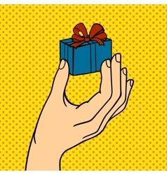 Human hand holding gift box pose signal human vector