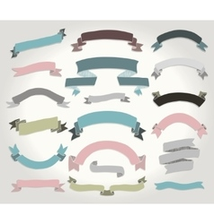 Colorful hand drawn ribbons banners set vector
