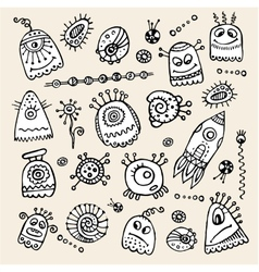 Aliens and monsters hand drawn set vector