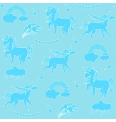 Aquamarine unicorns with clouds rainbow and stars vector