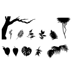 Black jungle plants silhouettes set vector
