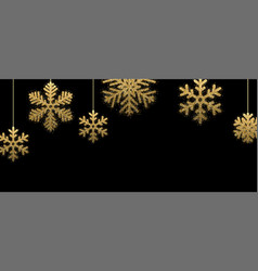 black winter banner with golden snowflakes vector image
