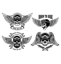 born to ride set of biker skulls with wings and vector image
