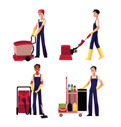 cleaning service boy with vacuum cleaner floor vector image vector image