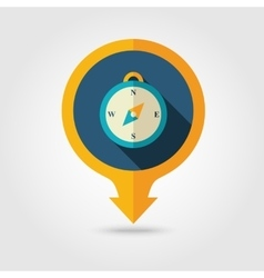 Compass pin map flat icon Summer vector image