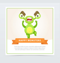 Cute funny angry green monster happy monsters vector