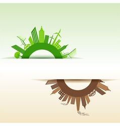 Eco and polluted city concept vector