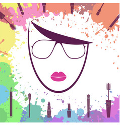 Face of beautiful girl fashion icon makeup vector