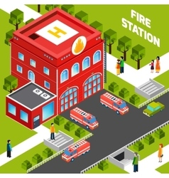 Fire department building isometric concept vector