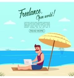 Freelance on beach concept vector