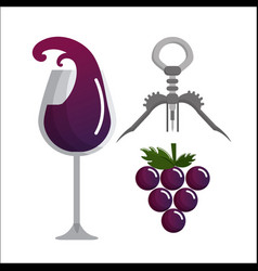 Glass splashing wine grape and take out cork vector