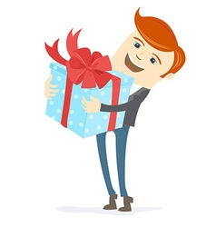 Happy man holding gift box with bow vector