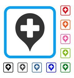 Hospital cross map marker framed icon vector