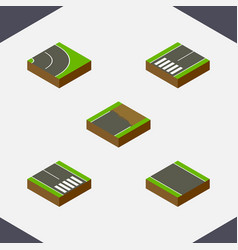 Isometric way set of pedestrian asphalt vector