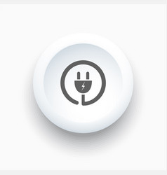 plug icon on a white simple button vector image