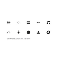set of 10 editable multimedia icons includes vector image