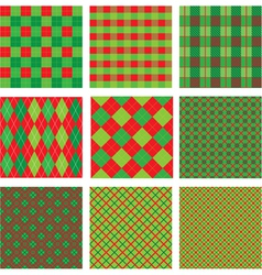Set of Christmas and New Year plaid seamless vector image vector image