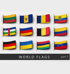 set of flag labels vector image