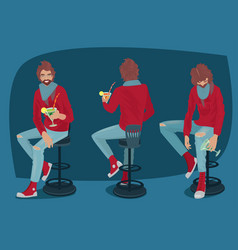set of guy with cocktail in different poses vector image vector image