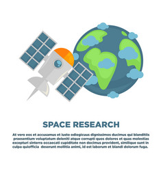 space research promotional poster with earth and vector image vector image