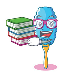 Student with book feather duster character cartoon vector