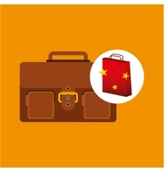 Suitcase red bag gift star design vector