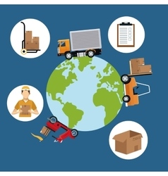 World wide cargo transport delivery concept vector