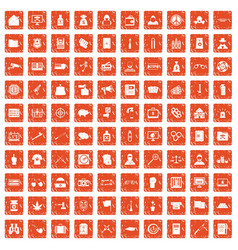 100 criminal offence icons set grunge orange vector image vector image