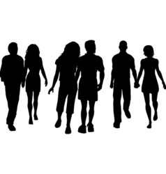 Couples walking copy vector