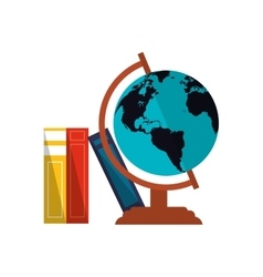 Earth globe and books icon vector