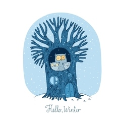 Beautiful tree and family of owls winter vector