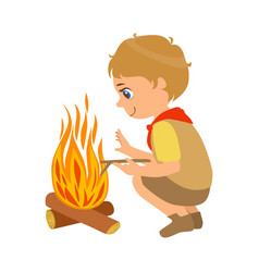 Boy scout squatting near the bonfire a colorful vector