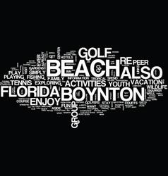Youth activities at boynton beach florida text vector