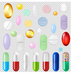 Pills set transparent background vector