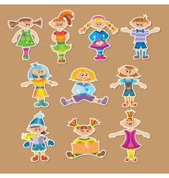 Group of cartoon kids vector image