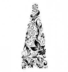 Decorative floral christmas tree vector