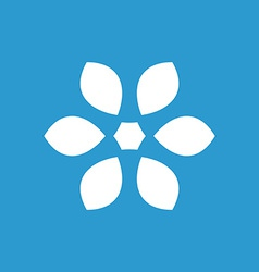 Flower icon white on the blue background vector